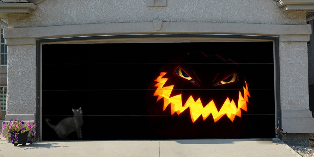 Re-Usable 3D Effect Garage Door Cover Billboard Sticker Decor Skin -Pumpkin Cat - Sizes to fit your Garage.