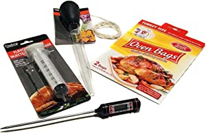 Turkey Cooking Kit (5-Pc Set): Thermometer/ Baster/ Oven Bags (2 XL)/ Injector Syringe/ Twine Cotton - Thanksgiving Cooking Supplies Prep Accessories w/ Bonus Cooking Guide