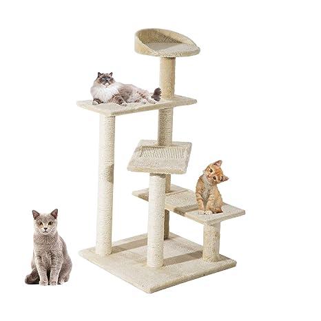 KingshopS Torre de árbol de Gato de 4 Niveles, Postes Extra Gruesos, árbol de