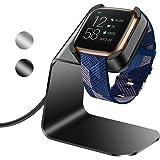 KIMILAR compatibel met Fitbit Versa 2 Oplader, Exclusieve Aluminium Oplaadkabel Lader Dock voor Fitbit Versa 2 Smartwatch, Zwart