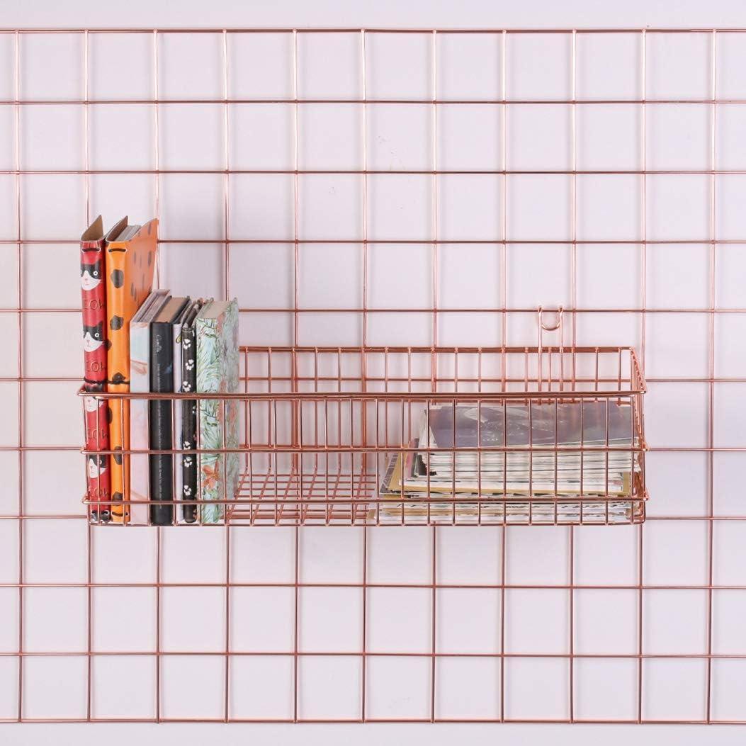 organizador colgante de pared de metal Nugoo Cesta chapada en oro rosa para panel de rejilla estante de almacenamiento para decoraci/ón de pared tama/ño 15.7 x 3.9 x 5.9 pulgadas