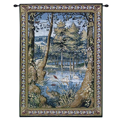 Animals Wool Tapestry - Verdure with Animals Wool and Cotton by Jan Van Tieghem   Woven Tapestry Wall Art Hanging   Vibrant Forest Masterpiece King Sigismund II Augustus Commission   100% Cotton USA Size 76x53