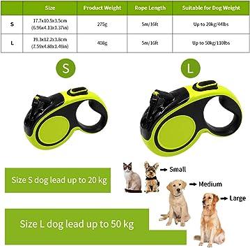 Eastlion Rollleinen Hunde Hundeleine 5m,Reflektierend Ausziehbar Einziehbar F/ührleine Starke Leine f/ür Kleine Mittlere und Gro/ße Hund Bis Max S:20kg//L:50 kg Gr/ün
