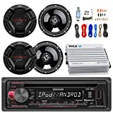 Kenwood KDC168U Car CD Player Receiver USB AUX Radio - Bundle Combo With 4x JVC CSDR620 6.5'' Inch 300-Watt 2-Way Black Audio Coaxial Speakers + + 4-Channel Amplifier + Amp Kit