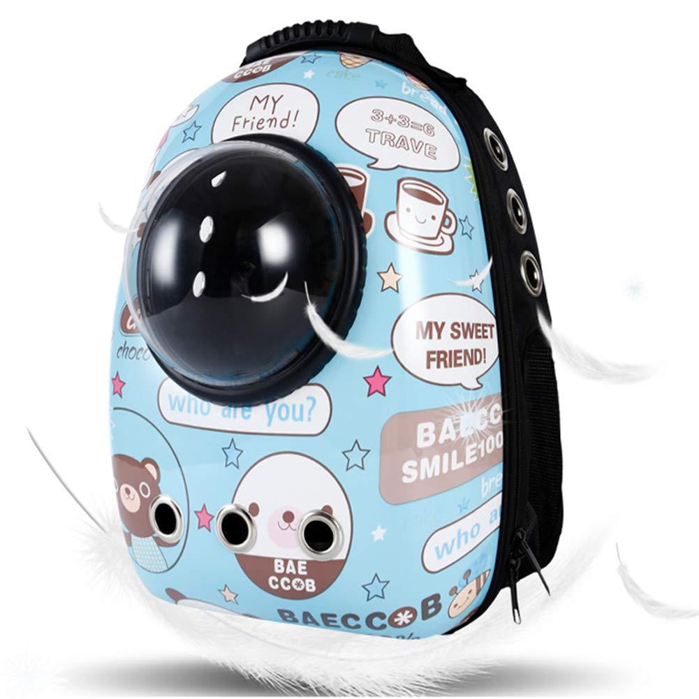 ペットキャットバブルバックパック、ポータブルペット旅行キャリア スペースカプセルペットハンドバッグ 通気性 猫と犬 カプセルスタイル 裏地 吸収パッド付き 786-625  cuteblue B07KR6F35H