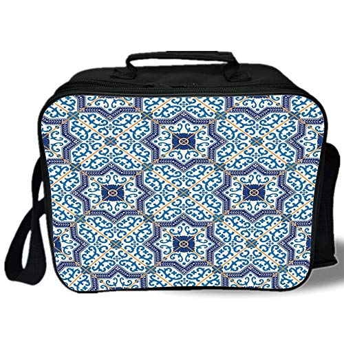Moroccan 3D Print Insulated Lunch Bag,Moroccan Portuguese Style Classic Tiles Ornaments Islamic Historical Buildings Art,for Work/School/Picnic,Blue White