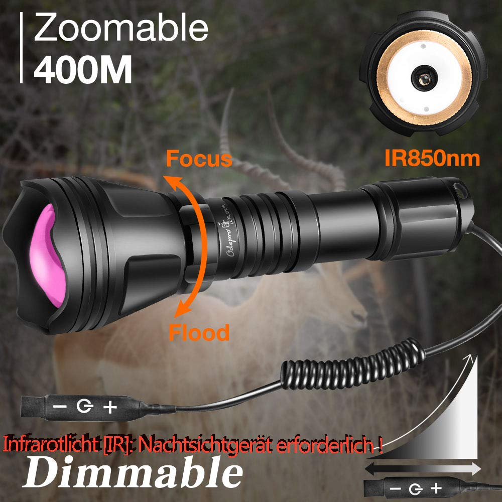 Odepro KL52-IR Zoomable 400m (1312ft) IR850nm lampe de poche infrarouge avec interrupteur à distance variable
