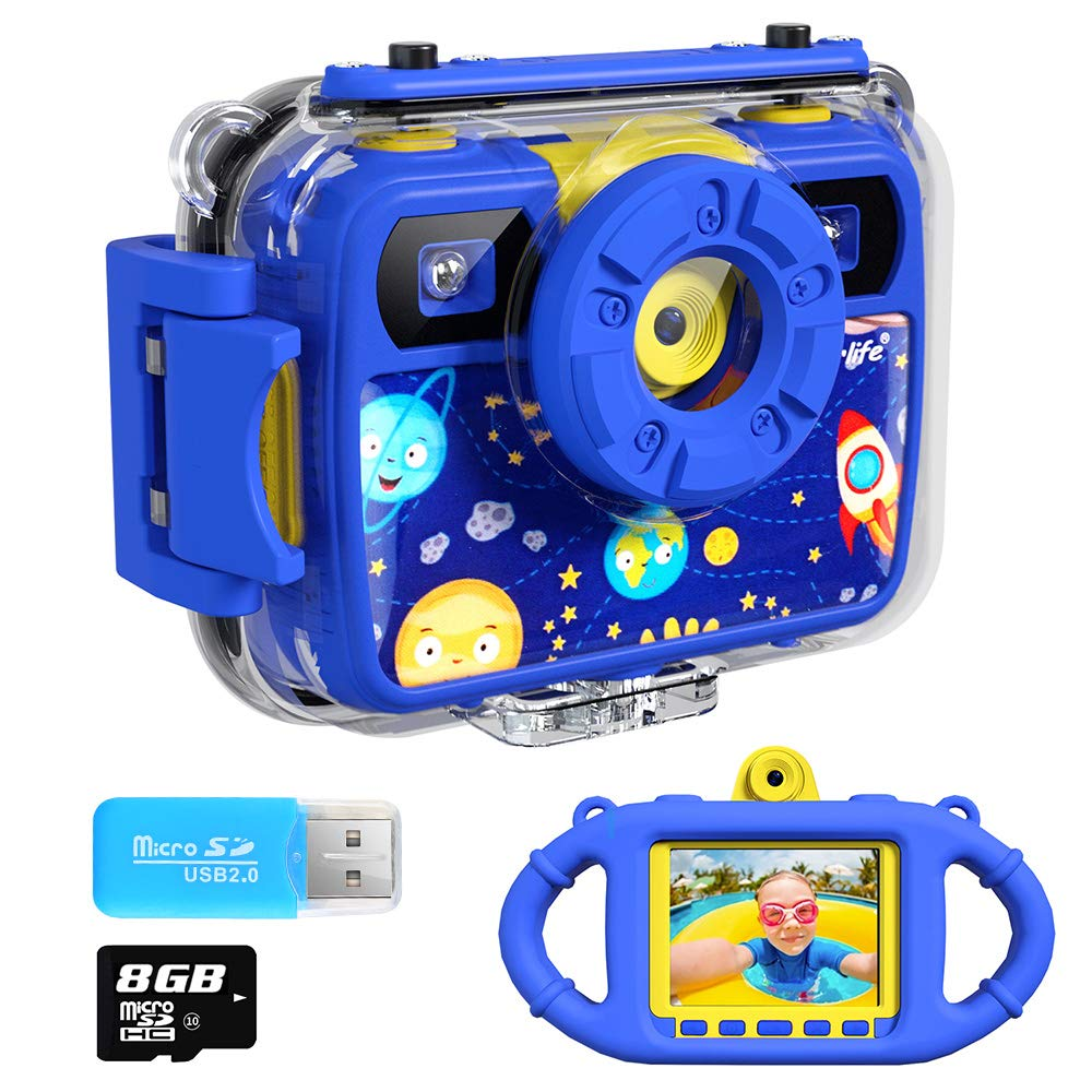 Ourlife Kids Camera, Selfie Kids Waterproof Digital Cameras for Kids 1080P 8MP 2.4 Inch Large Screen with 8GB SD Card, Silicone Handle and Fill Light,2019 Upgraded(Navy-Blue) by Ourlife (Image #1)