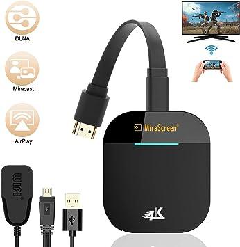 Dongle Inalámbrico con Pantalla WiFi, Soporte de Google Chrome, 4K HD Adaptador de Receptor de TV