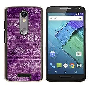 EJOOY---Cubierta de la caja de protección para la piel dura ** Motorola Moto X3 3rd Generation ** --Papel pintado púrpura retro del diseño del estilo de la vendimia