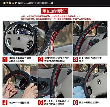 Autosunshine universale in pelle auto auto copertura del volante comfort resistenza di sicurezza antiscivolo 38,1/cm cucire su Wrap copertura con ago e thread-size m