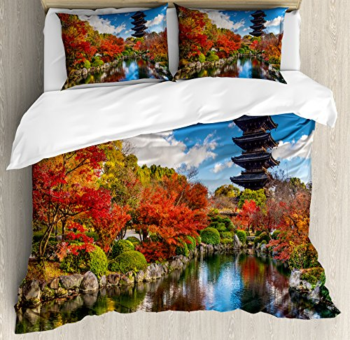 (Lunarable Japanese Duvet Cover Set King Size, to-ji Pagoda in Kyoto Japan During The Fall Season Colorful Trees Foliage Scenery, Decorative 3 Piece Bedding Set with 2 Pillow Shams, Multicolor )