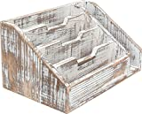 Rusoji Decorative Rustic Vintage Style Wood Desktop Home Office Organizer Mail Sorters, Brown
