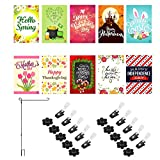Cheap Seasonal Garden Flag Set of 10 for Outdoors | Premium 10 Pack Assortment of Flags 12 inch x 18 inch | Durable Double Sided Colorful Designs for Seasons and Holidays with Flag Stand and Accessories