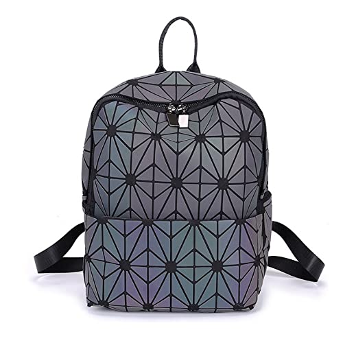 413aeb27031a Magibag Lattice Geometric Backpack Iridescent Rainbow Rucksack School Bag  Pack Teenager girl (Flower)