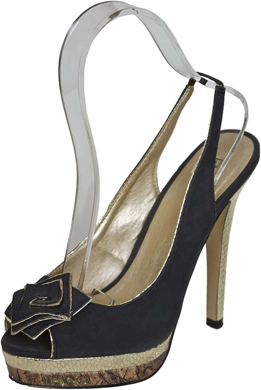 Black and Gold High Heel Slingback