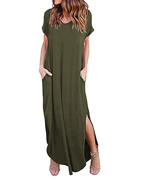 73cdcd20d6 Kidsform Women's Short Sleeve Maxi Dress Summer Casual Loose Long Dress V  Neck Split Floral Solid Beach Dress with Pockets