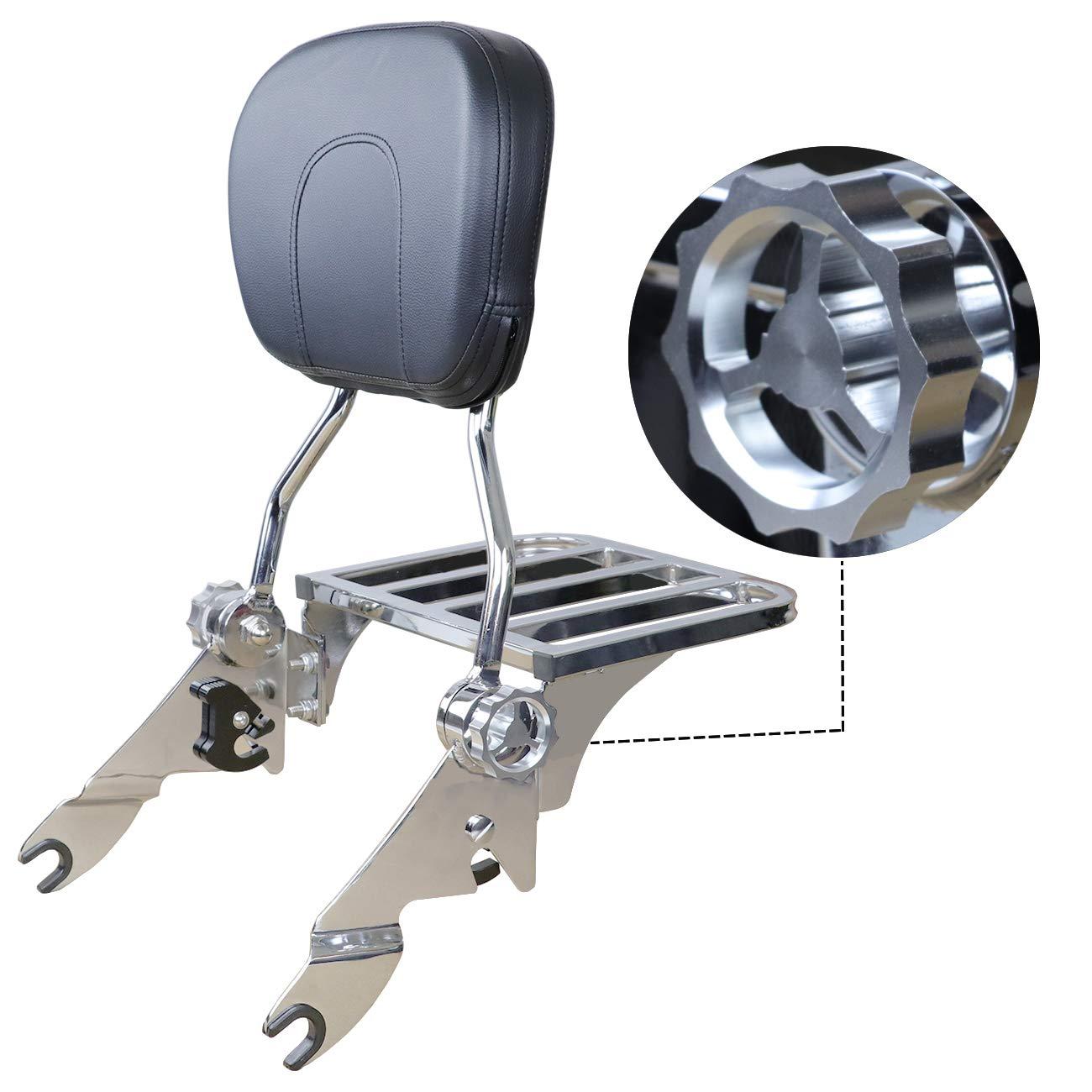 AUFER Adjustable Detachable Backrest Sissy Bar Upright Passenger Backrest w//Pad With luggage rack For Touring Road King Street Glide FLHR FLHX FLHT FLTR 2009-2020 (Black)