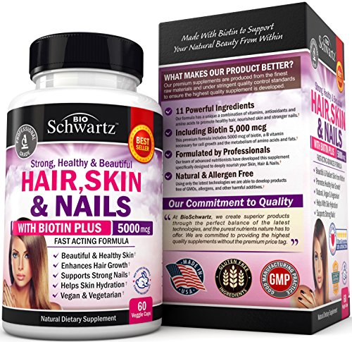 Hair Skin and Nails Vitamin with Biotin 5000. Promotes Hair Growth Glowing Skin Strong Nails. Natural & Vegetarian. Good as Phytoceramides 350 mg Anti aging Skin Care. Made In USA Money Back Guarantee