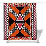 InterestPrint Ethnic Pattern with Southwest Native American Indian Geometric Print Home Decor Waterproof Polyester Bathroom Shower Curtain Bath with Hooks, 72(Wide) x 84(Height) inches