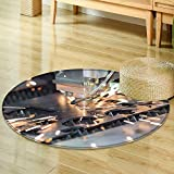 Dining Room Home Bedroom Carpet Floor Mathigh precision cnc gas cutting metal sheet Non Slip rug-Round 39''