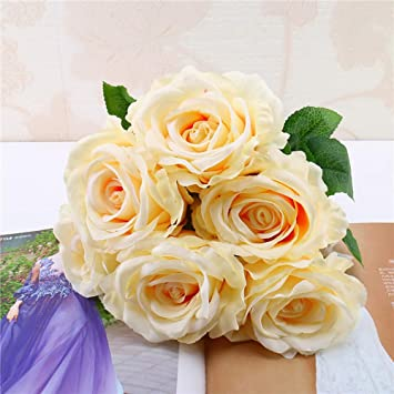 Amazon De Yazidan 1 Bouquet Vintage Kunstliche Rose Seidenblumen