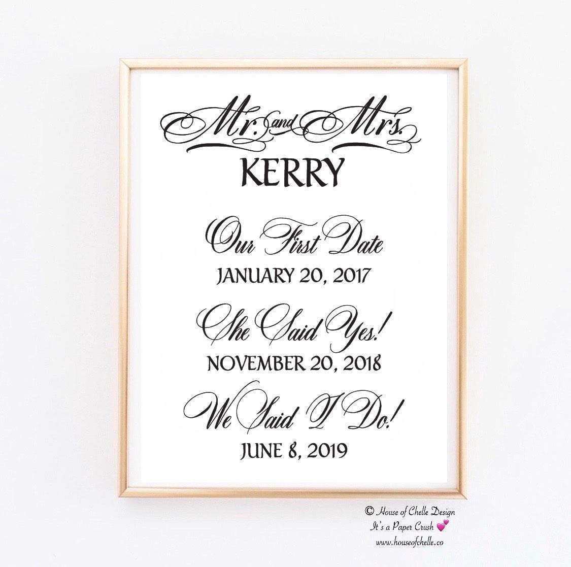 Photo Frame Gift for Couple Wedding Gift for Bride and Groom Mr and Mrs Personalized Last Name Established Wedding Date Picture Frame