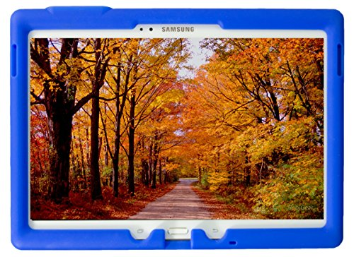 Bobj Rugged Case for Samsung Galaxy Tab S 10.5 Tablet Models SM-T800, SM-T805, SM-T807 - BobjGear Custom Fit - Patented Venting - Sound Amplification - BobjBounces Kid Friendly (Batfish Blue)