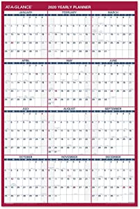"2020 Large Erasable Wall Calendar, AT-A-GLANCE Dry Erase Planner, 36"" x 24"", Double Sided, Vertical/Horizontal, Blue/Red (PM2628)"