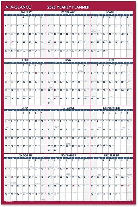 "AT-A-GLANCE 2020 Wall Calendar, 36"" x 24"", Large, Erasable, Dry Erase, Reversible, Vertical/Horizontal (PM26B28)"