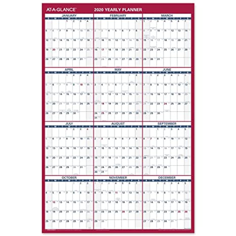 Calendrier Nfl 2020 2019.At A Glance 2020 Wall Calendar 36 X 24 Large Erasable Dry Erase Reversible Vertical Horizontal Pm26b28