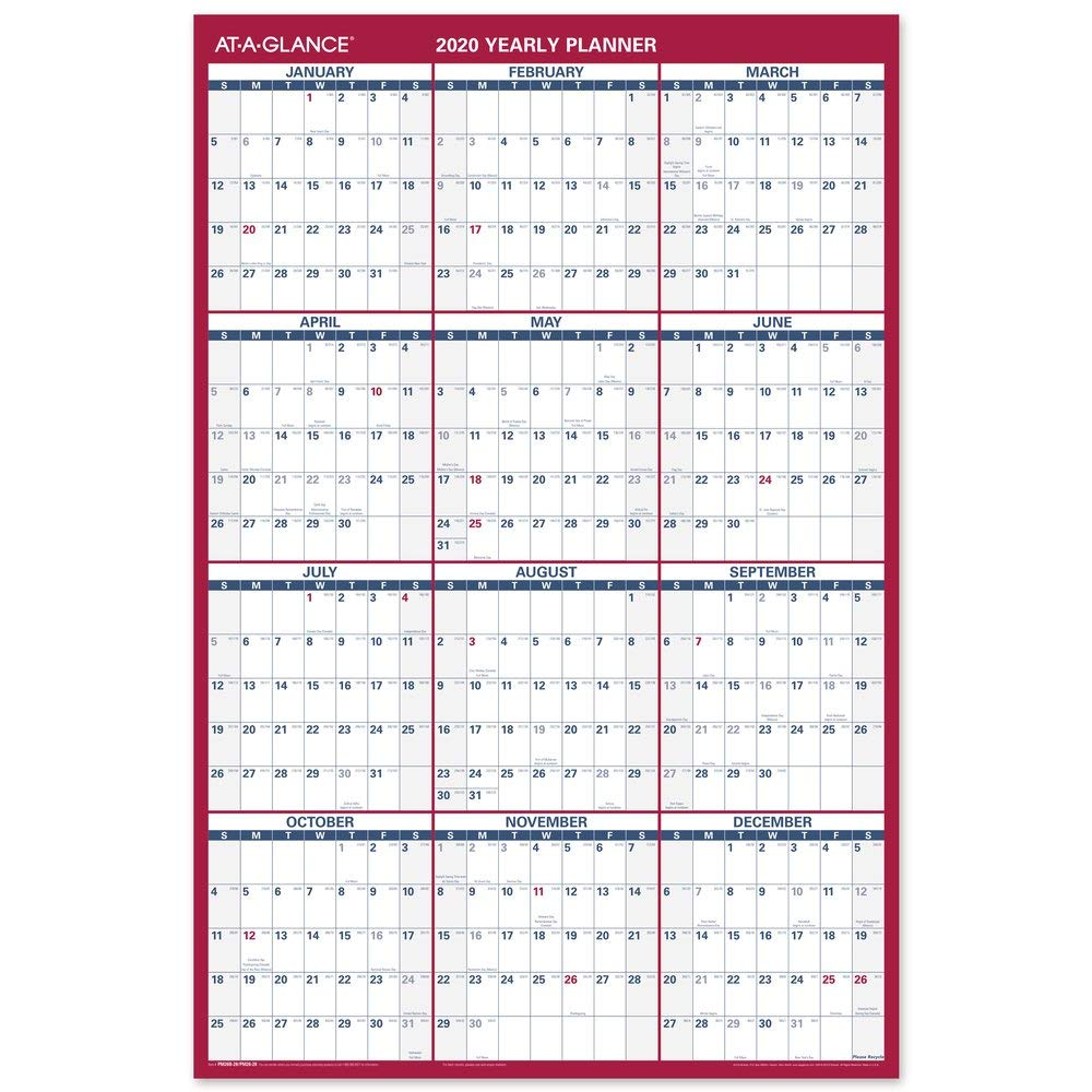 AT-A-GLANCE 2020 Wall Calendar, 36'' x 24'', Large, Erasable, Dry Erase, Reversible, Vertical/Horizontal (PM26B28)
