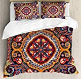 Paisley 4pcs Bed Set Arabic Style Ornamental Rug Pattern Inspired Design with Flowers and Leaves Bedding Sets Duvet Cover Flat Sheet No Comforter with Decorative Pillow Shams for Kids Adults Teens