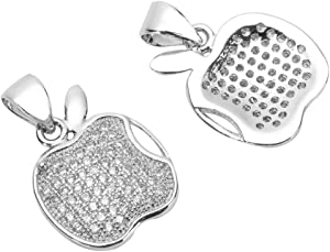 1pc Silver Apple of My Eye Charm Pendant Lab Simulated Diamond Pendant for Jewelry Craft Making MCAC28