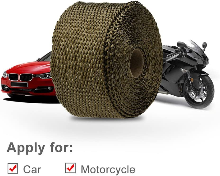 UnitedCAheart Car Motorcycle Exhaust Pipe High Heat Insulation Cloth Exhaust Pipe Wrap Tape Cloth with 10 Pcs Metal Strips E