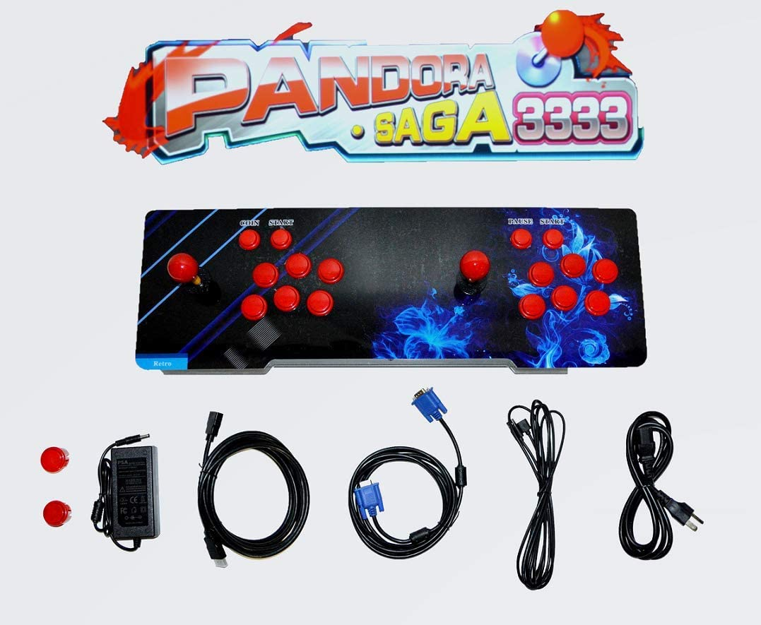 AZplay 【3333 Games in 1】 Arcade Game Console, Pandora BOX SAGA Double Stick,3333 Classic Arcade Game, Search Games, Support 3D Games, Favorite List, 4 Players Online Game,1280X720 Full HD Video Game.