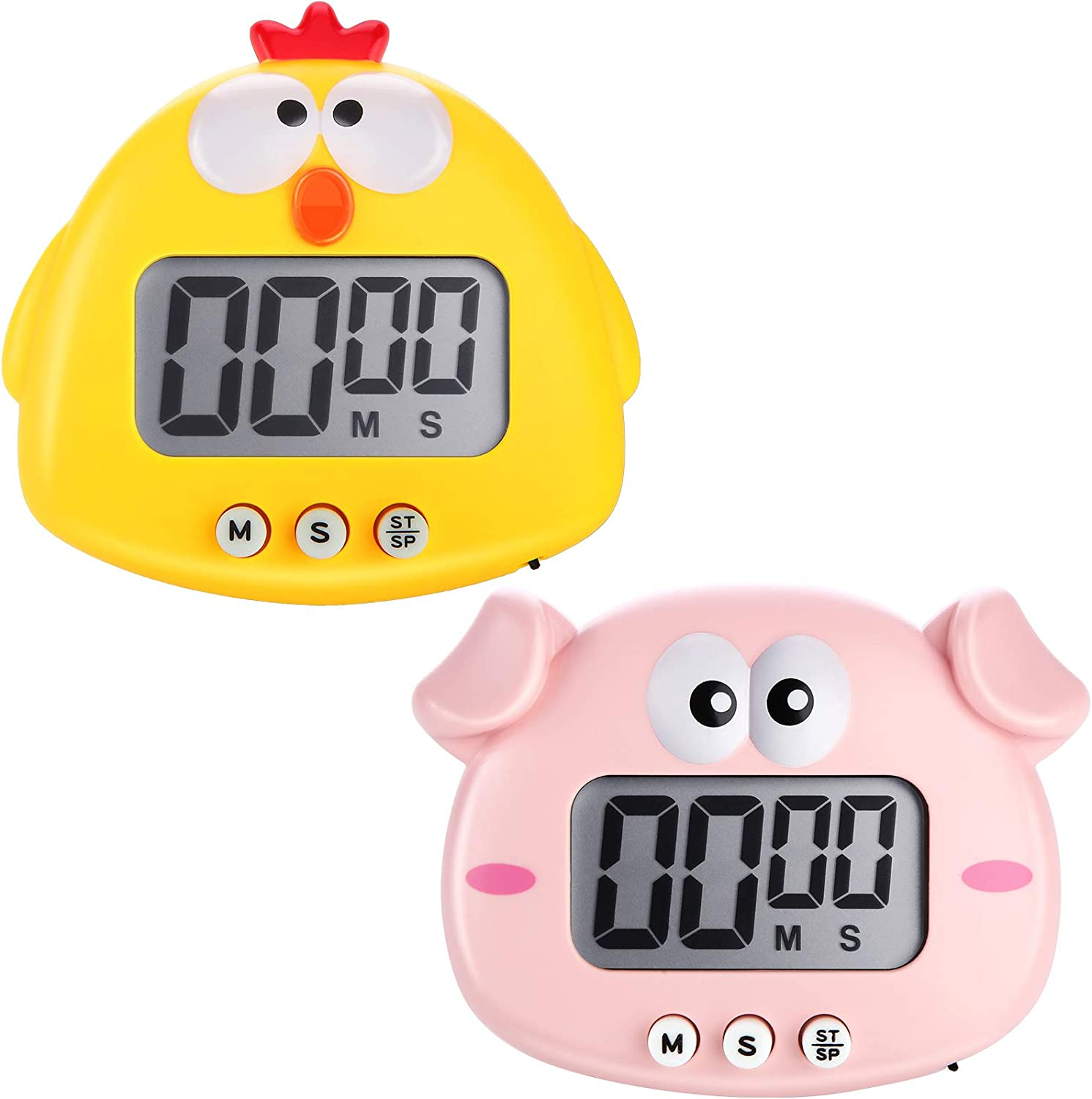 2 Pieces Kids Kitchen Timer Magnetic Animal Digital Countdown Timer Timers LCD Display Cute Cartoon Timer for Cooking