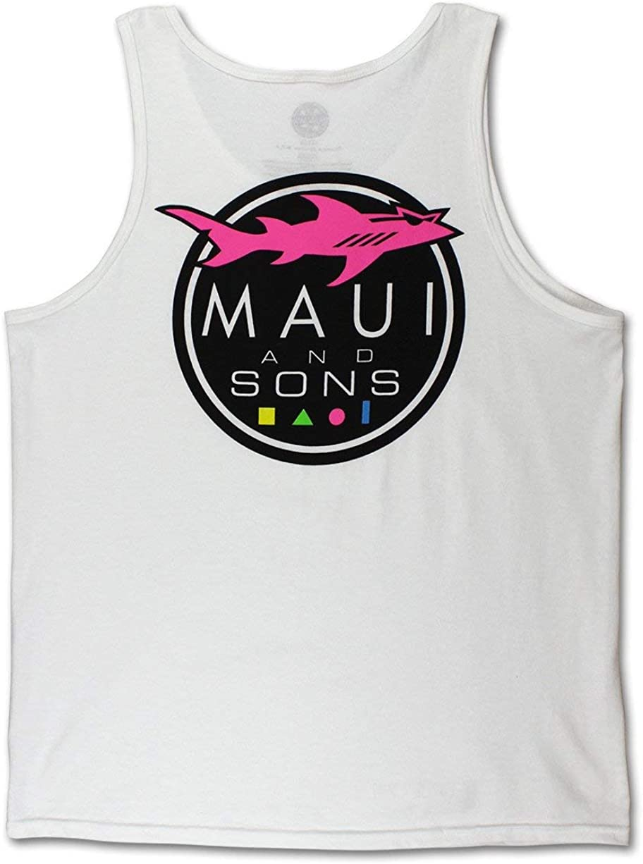 Maui & Sons Men's Graphic Shark Logo Tank Top
