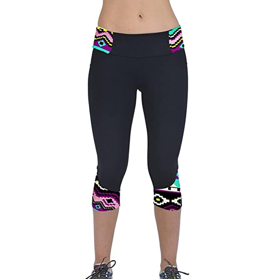 dcb2d321ac72 Mingfa.y Small G Printed High Waist Yoga Leggings 34 Length Capri By Mingfa  Women Sp  Amazon.in  Clothing   Accessories