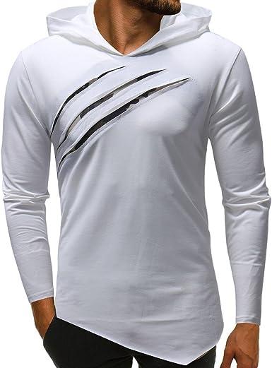 Camisa De Manga Larga con De Camuflaje Color Capucha Puro En para Moda Completi Hombres Camisa