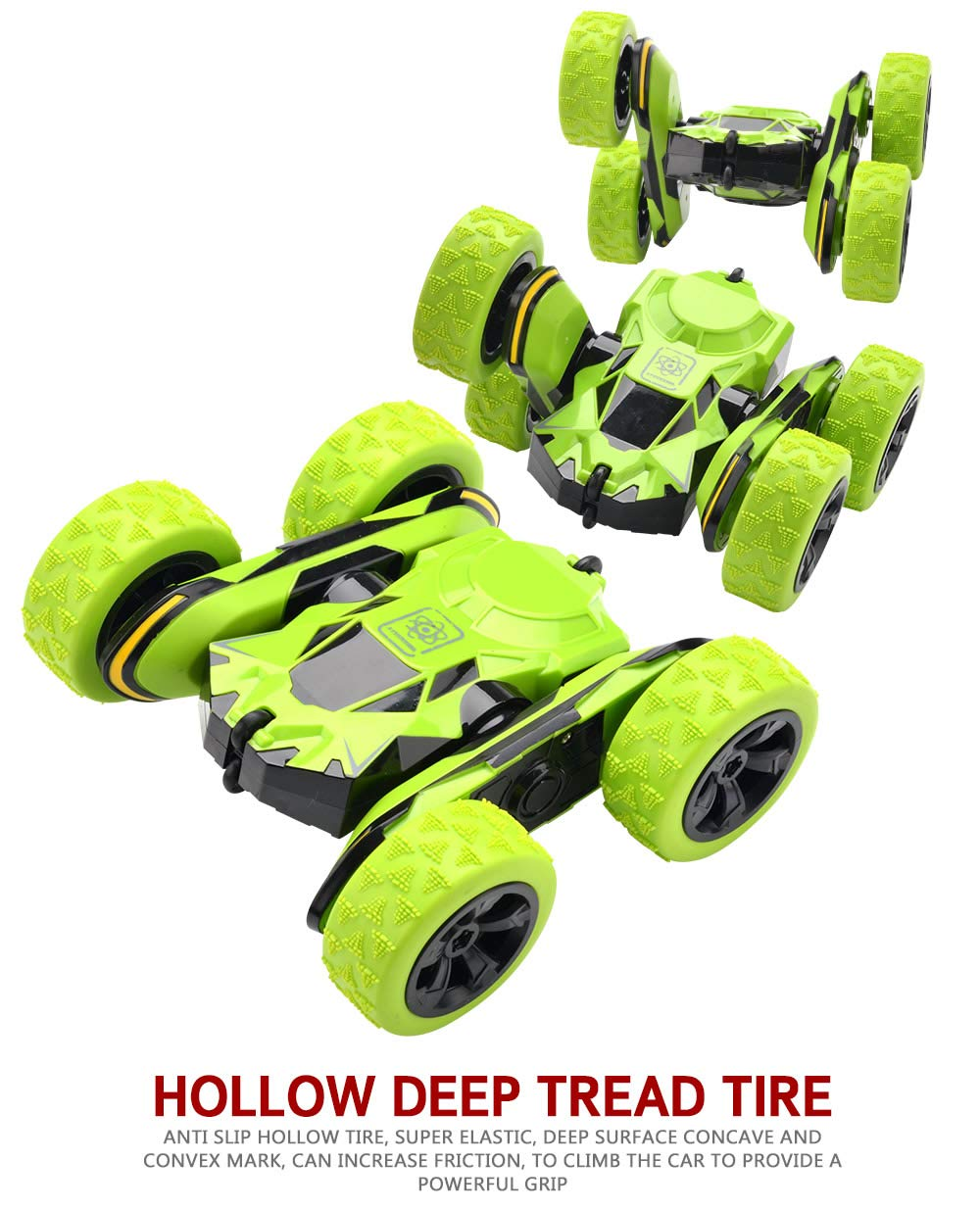 Threeking Rc Stunt Car Remote Control Off-Road Truck Double Sided Tumbling 360 Degree Rotation 3D Deformation Dance Car 1:28 2.4Ghz Rechargeable Stunt Car Great Gift for Kids - Green by Threeking (Image #4)