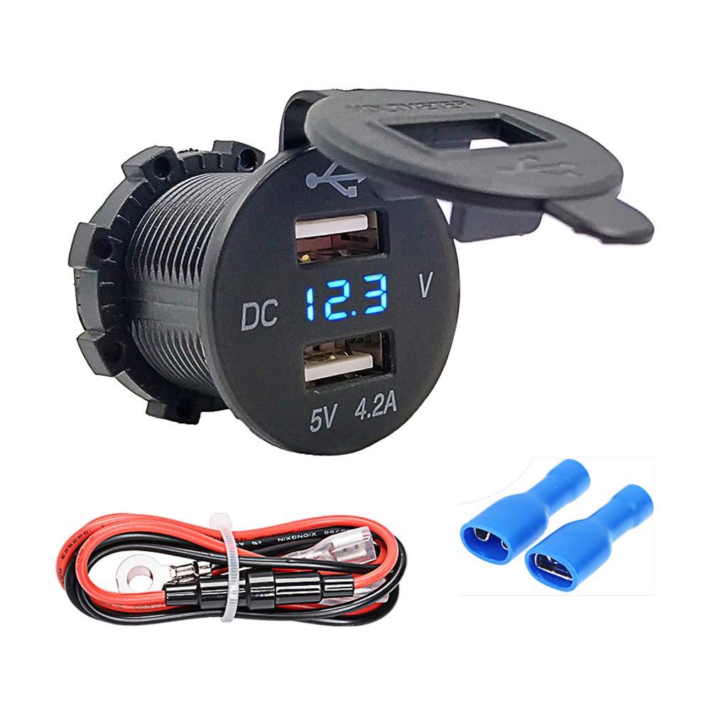 Bkinsety Prise de courant de voiture de double USB, prise de courant imperméable à l'eau avec l'affichage de tension de LED pour la voiture, le bateau, la moto, la caravane, le camion et plus