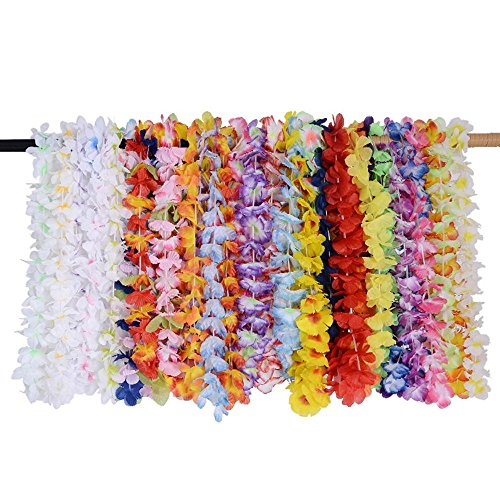 Aolvo 36 Counts Hawaii Wreaths Leis, Hawaiian Leis Necklace and Headband Silk Flower Leis Tropical Hawaiian Leis Ruffled Flowers Necklaces Luau Birthday Party Favors for Teens Adults Kids