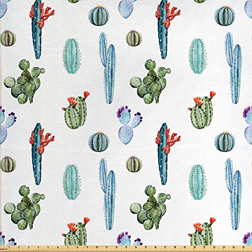 Ambesonne Cactus Decor Fabric by The Yard, Watercolor Cactus Plant Image Desert Hot Mexican Souh Nature Floral Print, Decorative Fabric for Upholstery and Home Accents, Blue and Green