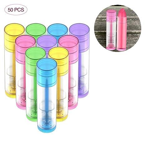 OZUAR 50pcs Envases de Labios Bálsamo de Plástico 5g Bálsamo Labial Tubos para DIY Hechos en