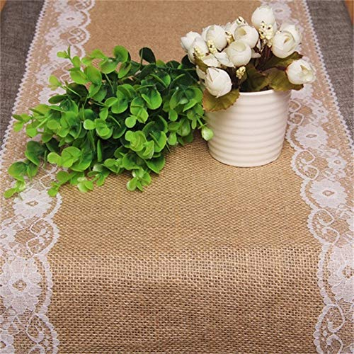 Table Lace - Burlap Lace Wedding Table Runner Party Event Hessian Vintage Retro Decoration - Turquoise Tablecloth Weddings Jute Navy Judith Blue Runners Violet Mexican Gray Yellow Christ