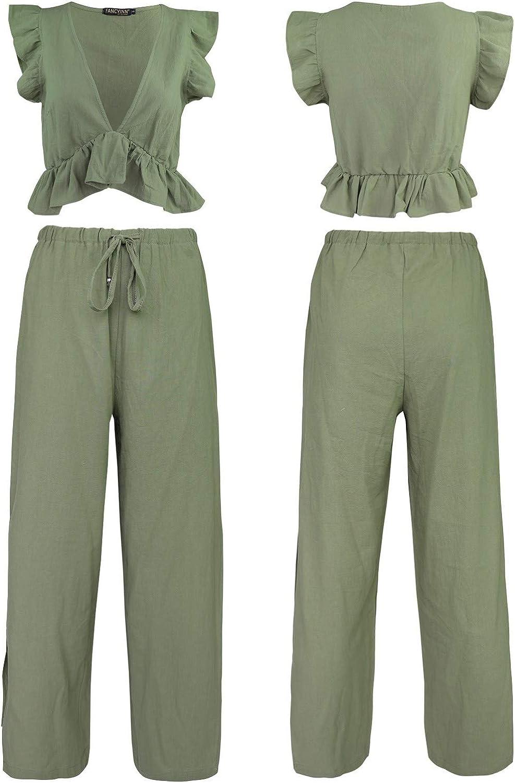 FANCYINN Womens 2 Pieces Outfits Deep V Neck Crop Top Side Slit Drawstring Wide Leg Pants Set Jumpsuits