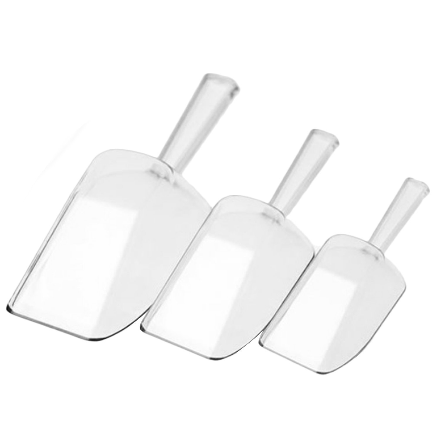 3pcs Clear Plastic Kitchen Food Scoops Ice Scraper Shovel Bar Tools Accessories for Candy Flour Buffet Wedding Party Favor Migavan