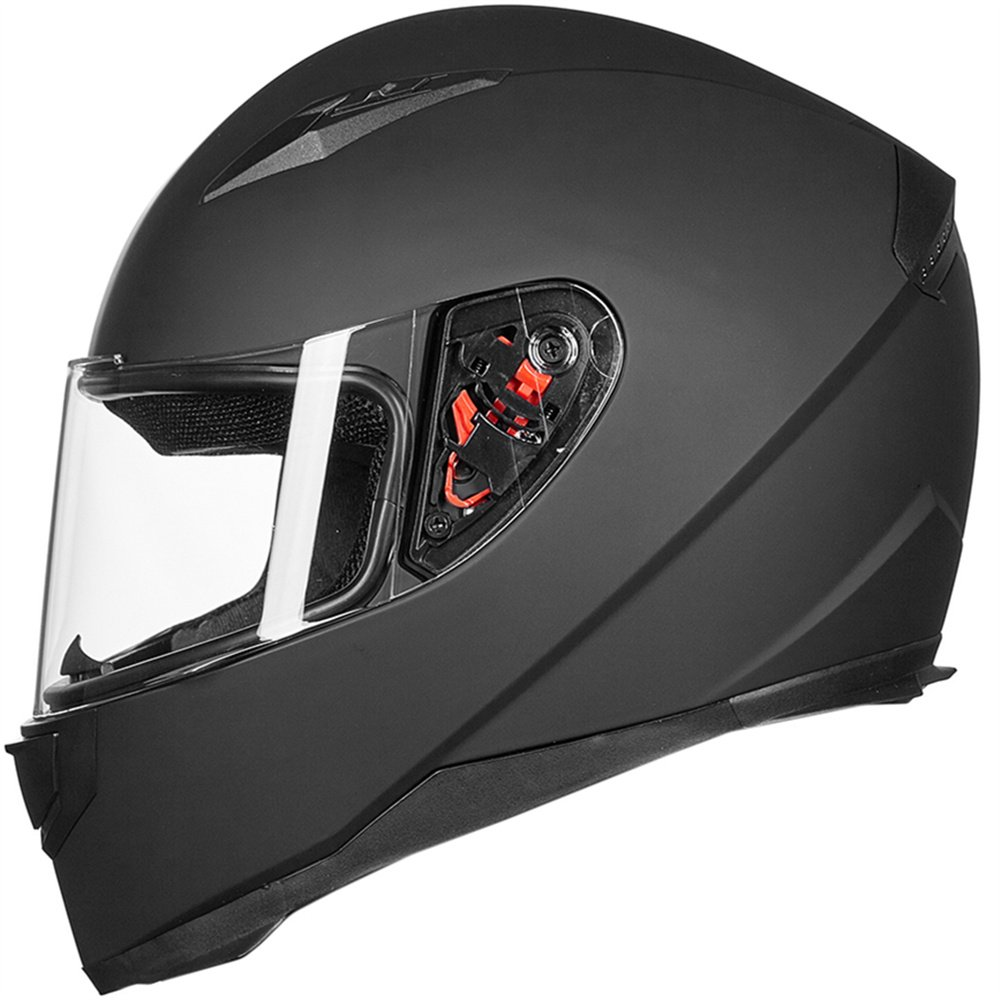 ILM Full Face Motorcycle Street Bike Helmet with Removable Winter Neck Scarf + 2 Visors DOT (M, Matte Black)