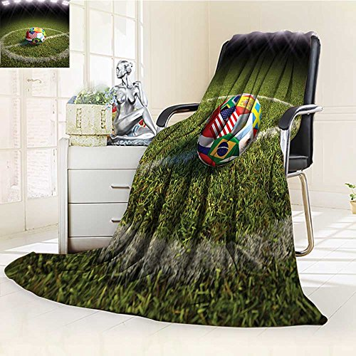 AmaPark Digital Printing Blanket Sports A Soccer Ball on a Soccer Field Printeds of the Participating Countries Green White Red Summer Quilt Comforter by AmaPark